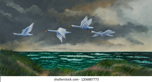 Oil painting of four white migratory birds flying on a coast over a green sea with waves
