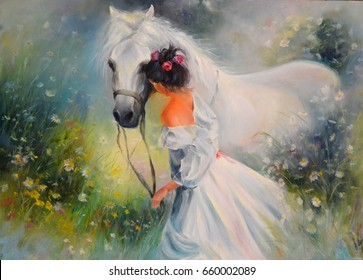 Oil painting. Girl with a horse