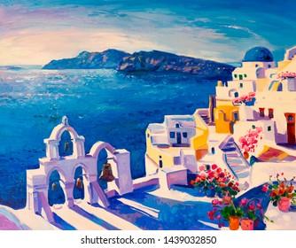 Oil painting of Greece island on canvas. Modern art.