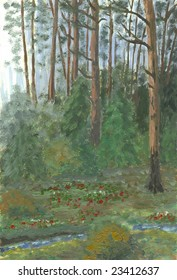 Oil painting hand drawn with dark pine forest