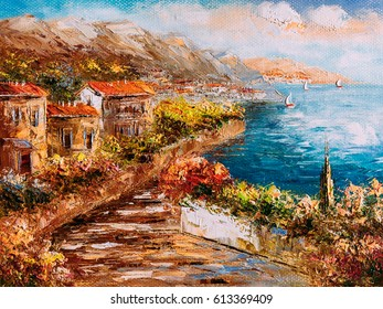 Oil Painting - Harbor View, Greece