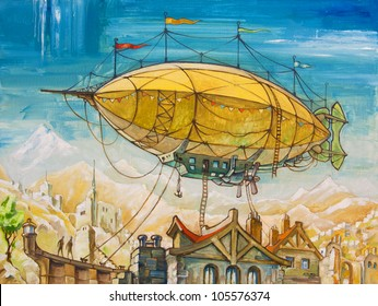 The oil painting with the huge airship flying above the old-style fantasy buildings. My artwork, oil on canvas, 60 x 80 cm.