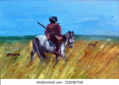 Oil painting. Hunter on a horse with dogs. Autumn hunting drawing. Old palette knife painting handmade. Picture for home interior. A man on a horse in the field.