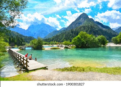 Oil painting illustartion of beautiful scenery Jasna Lake and moutians which is located near Kranjska Gora town. One of the most popular lake in Slovenia