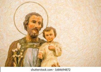 oil painting illustration of statues of Saint Joseph and Holy Child Jesus