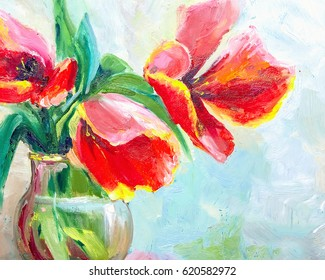 Oil Painting, Impressionism style, texture painting, flower still life painting art painted color image, wallpaper and backgrounds, canvas, artist, painting floral pattern, tulips