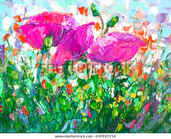 Oil Painting, Impressionism style, texture painting, flower still life painting art painted color image, wallpaper and backgrounds,  painting floral pattern,