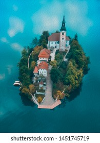 oil painting Lake Bled Slovenia. Beautiful mountain lake with small Pilgrimage Church. Most famous Slovenian lake and island Bled with Pilgrimage Church of the Assumption of Maria and Bled Castle