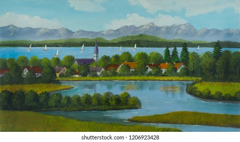 Oil painting of a lake landscape with sailboats in a village in the middle and mountains in the background