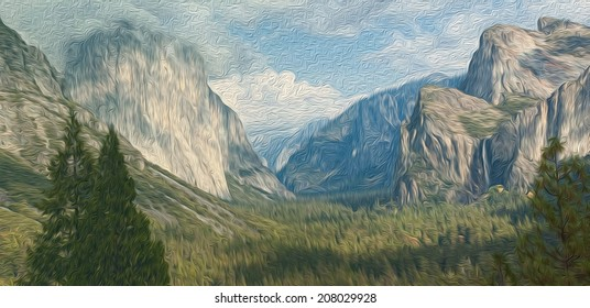 Oil painting  Landscape from America California Yosemite national park, el capitan mountain, panoramic scenic beautiful epic landscape of Yosemite national park.