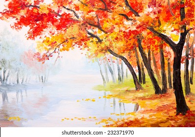 Oil painting landscape - autumn forest near the lake, orange leaves