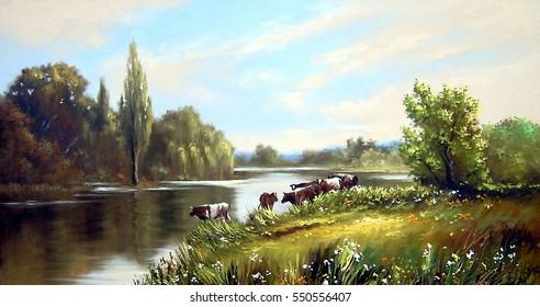 Oil painting landscape, beautiful river, illustration