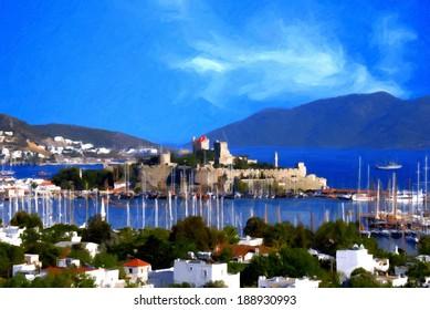 Oil painting landscape of beautiful tourism city Bodrum