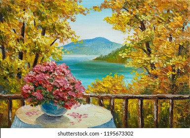 Oil painting landscape - colorful autumn forest, mountain lake, flowers