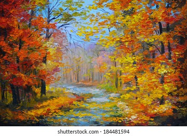 Oil painting landscape - colorful autumn forest, with the trail, with colorful leaves and blue sky, made ??in the style of impressionism