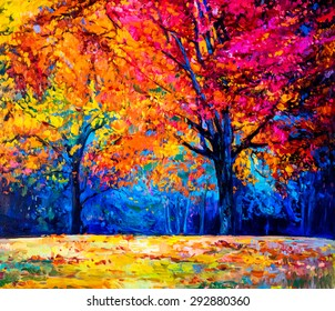 Oil painting landscape - colorful autumn trees -Modern impressionism by Nikolov