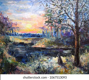 Oil painting landscape colorful forest with a wolf