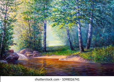 Oil painting landscape, colorful summer forest, beautiful river with a waterfall
