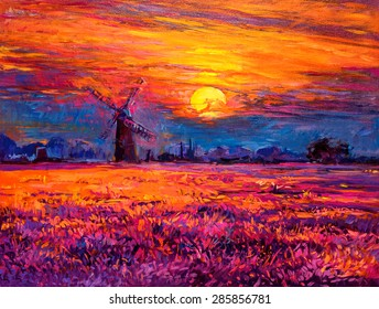 Oil painting landscape - colorful sunset and beautiful mill. Modern impressionism by Nikolov