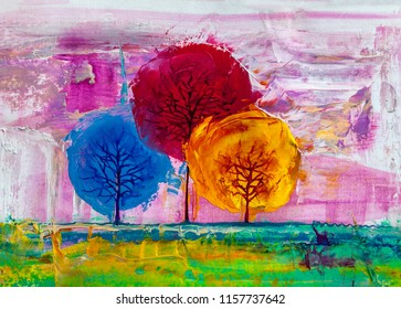 Oil painting landscape, colorful  trees.  Hand Painted Impressionist, outdoor landscape.