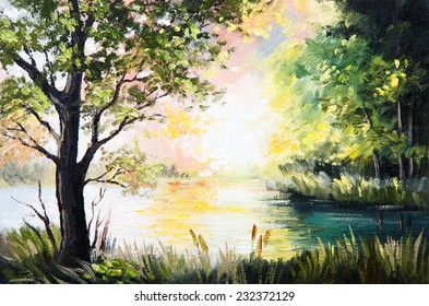 Oil painting landscape - lake in the forest, summer afternoon