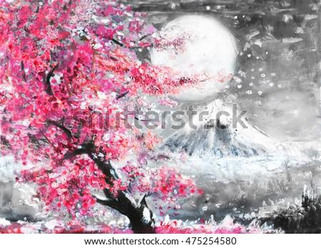 Royalty Free Stock Illustration Of Oil Painting Landscape Sakura