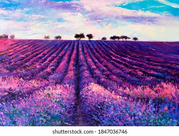Oil painting with Lavender field. Art decor.