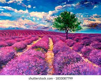 Oil painting. Lavender field painting. Modern art.