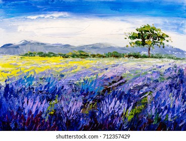 Oil Painting - Lavender Field at Provence, France
