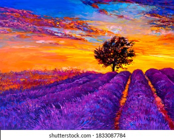 Oil painting. Lavender painting. Modern art.