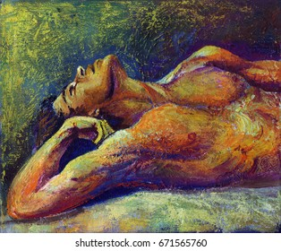 Oil painting of a lying man with a naked torso