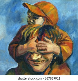 Oil painting of man and child