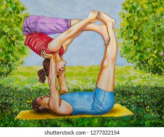 Oil painting - man and woman doing yoga exercises in nature