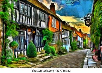 """— Giclee Fine Art Print 1889 Dennis Miller Bunker /""""Roadside Cottage/"""""""