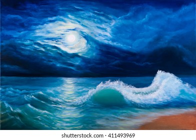 Oil painting of the moonlight sea landscape