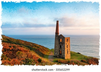 An oil painting of an old ruined Cornish engine house on cliffs at Rinsey Head near Helston in Cornwall