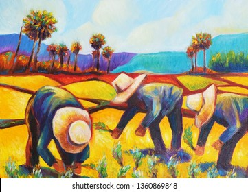 Oil Painting on Canvas Asian farmers are growing rice
