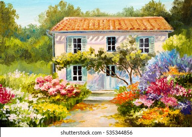 Oil painting on canvas of a beautiful house and flowers, abstract drawing, watercolor art
