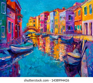 Oil painting on canvas. Boats and houses by the sea. Modern art