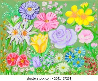 Peinture à l'huile sur toile de collection de fleurs en fleurs