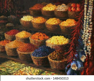 An oil painting on canvas of a colorful market stand in the Orient with fruits, candies, spices and vegetables on display. Colorful palette of scents, vivid colors and joyful hubbub at magical place.