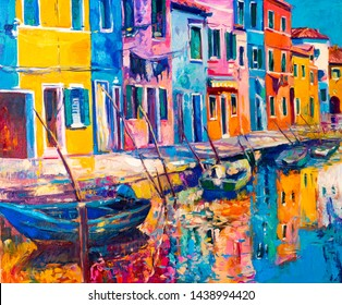 Oil painting on canvas. Colourful houses. Modern art