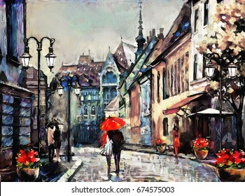 oil painting on canvas european city. street view of Paris. Artwork. people under a red umbrella. Tree.