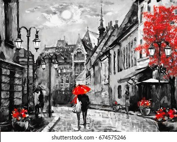 oil painting on canvas european city. Hungary. street view of Budapest. Artwork. people under a red umbrella. Tree. Night and moon