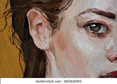 Oil painting on canvas. An expressive fragment of the female body. A delicate palette predominantly in warm colors emphasizes the fragility and beauty of the model.
