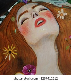oil painting on canvas , fantasy woman portrait