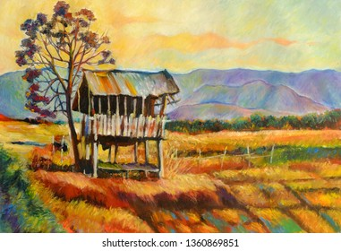 Oil Painting on Canvas Farmer's Cottage in the Rice field, Dry season