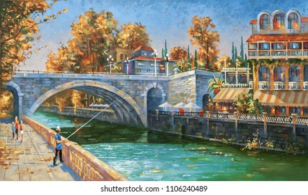 Oil painting on canvas. Fisherman on the embankment of the river Sochi, autumn, the architectural landscape of beloved city. Author: Nikolay Sivenkov