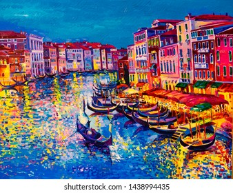 Oil painting on canvas. Gondolas and colour reflections. Modern art