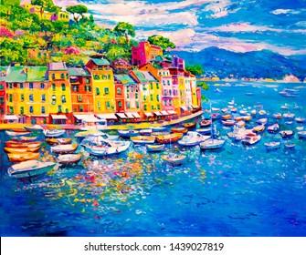Oil painting on canvas. Italian landscape.  Modern art
